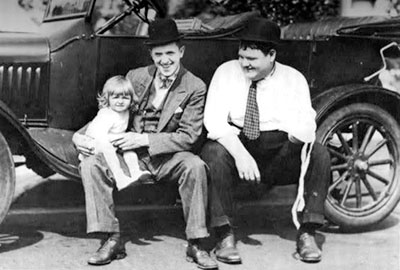 Stan and Lois Laurel with Oliver Hardy