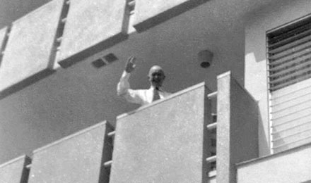 Stan Waves from his Balcony