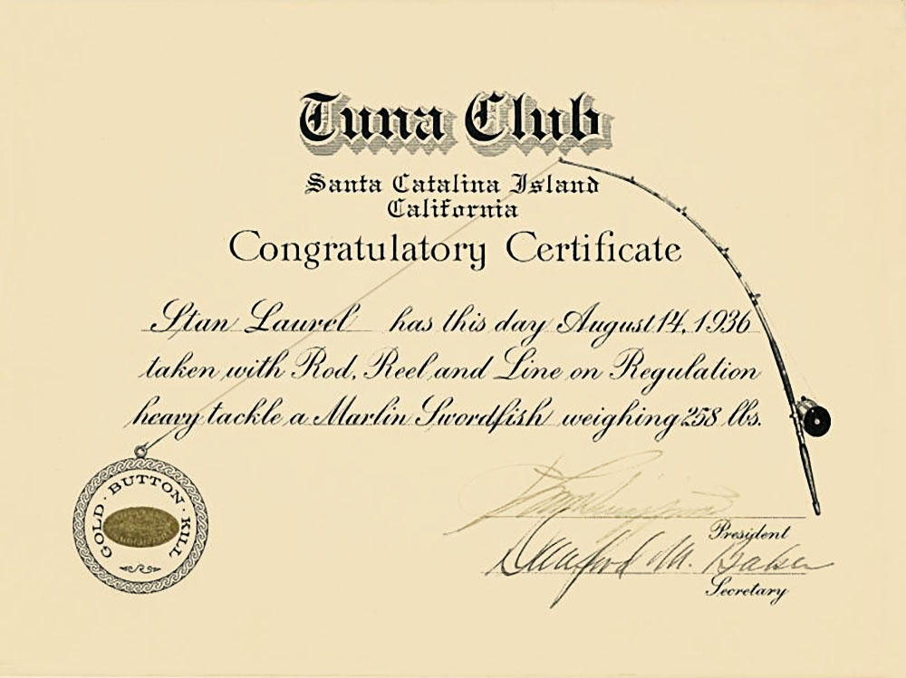 Tuna Club Certificate